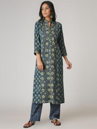 Blue-Green Ajrakh-printed Paneled Cotton Kurta