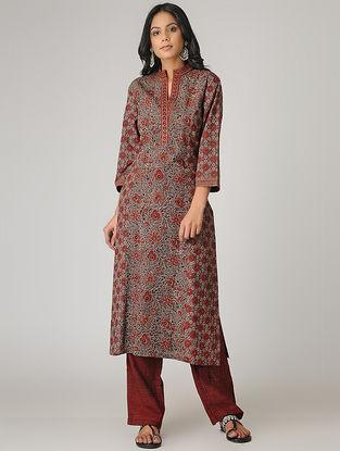 Brown-Maroon Ajrakh-printed Paneled Cotton Kurta