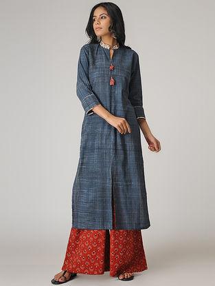 Indigo Ajrakh-printed Cotton Kurta with Tassels