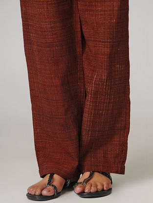 Maroon Ajrakh-printed Tie-up Elasticated Waist Cotton Pants