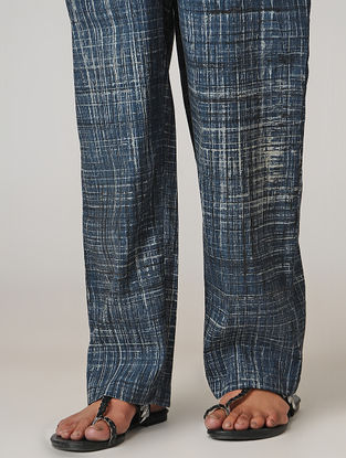 Indigo Ajrakh-printed Tie-up Elasticated Waist Cotton Pants
