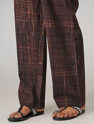 Brown Ajrakh-printed Tie-up Elasticated Waist Cotton Pants