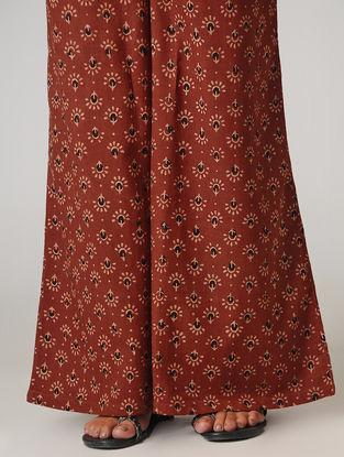 Maroon Ajrakh-printed Tie-up Elasticated Waist Cotton Palazzos