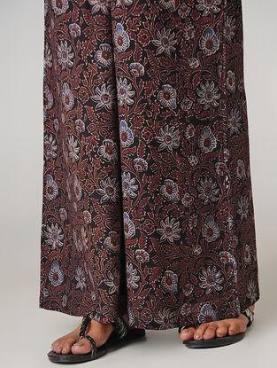 Black Ajrakh-printed Tie-up Elasticated Waist Cotton Palazzos