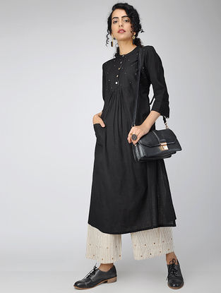 Black Handwoven Cotton Khadi Kurta with Hand Embroidery