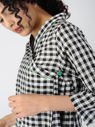 Black-White Checkered Cotton Mulmul Angrakha Top