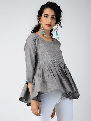 Grey Pleated Cotton Top