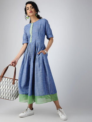 Blue Cotton Khadi Dress with Hand-embroidered Detail