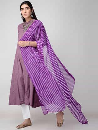 Purple Leheriya Chiffon Dupatta
