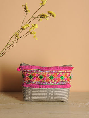 Brown-Multicolored Phulkari Cotton Canvas Pouch with Fringes