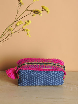 Blue-Pink Printed Cotton Canvas Canvas Travel Kit with Tassels