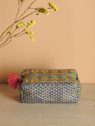 Green-Brown Printed Cotton Canvas Canvas Travel Kit with Tassels