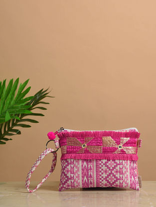 Pink-White Phulkari Cotton Canvas Pouch with Fringes