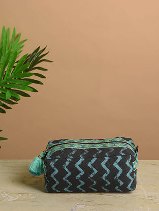 Blue-Green Printed Cotton Canvas Travel Kit with Tassels