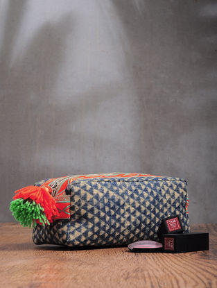 Green-Beige Printed Cotton Canvas Travel Kit with Tassels