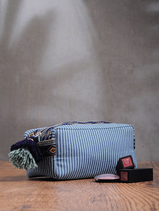 Blue Printed Cotton Canvas Travel Kit with Tassels
