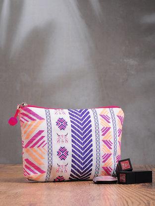 Pink-White Phulkari Cotton Canvas Pouch
