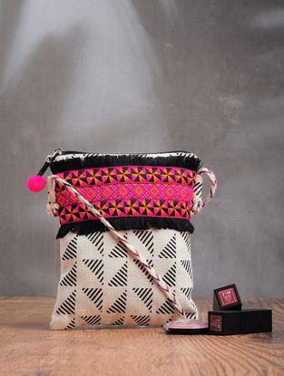 Black-White Printed Cotton Canvas Sling Bag with Lace and Tassel