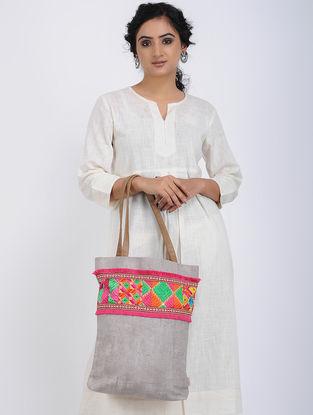 Grey-Multicolored Printed Cotton Canvas Phulkari Tote Bag