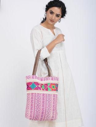 Pink-Multicolored Printed Cotton Canvas Phulkari Tote Bag