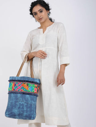 Teal-Multicolored Printed Cotton Canvas Phulkari Tote Bag