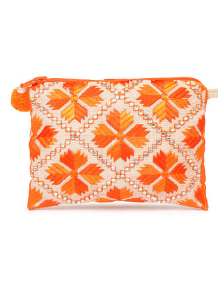 Beige-Orange Phulkari Cotton Pouch with Stones
