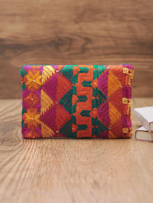 Pink-Multicolor Cotton Phulkari Pouch with Sequin - 6.6in x 9.5in
