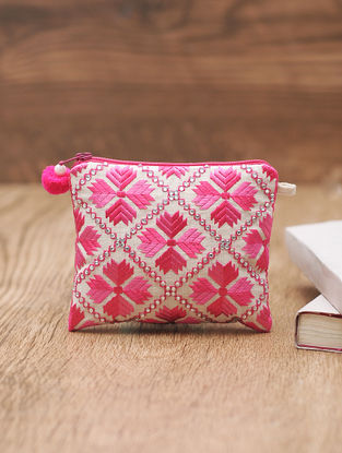 Pink-Ivory Embellished Cotton Phulkari Pouch - 4.2in x 5in