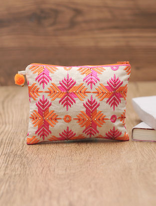 Pink-Orange Cotton Phulkari Pouch with Sequin and Beads - 5.5in x 7in