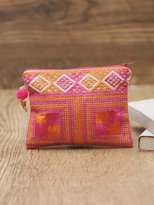 Orange-Pink Cotton Phulkari Pouch with Beads - 5in x 6.2in