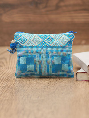 Blue Cotton Phulkari Pouch with Beads - 5in x 6.3in