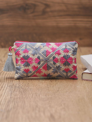 Ivory-Pink Cotton Phulkari Pouch with Sequin and Beads - 4.5in x 7.5in