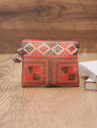 Orange-Brown Cotton Phulkari Pouch with Beads - 5.2in x 6.5in