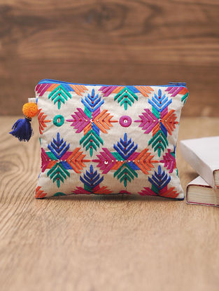 Ivory-Multicolor Cotton Phulkari Pouch with Sequin and Beads - 5.6in x 7in