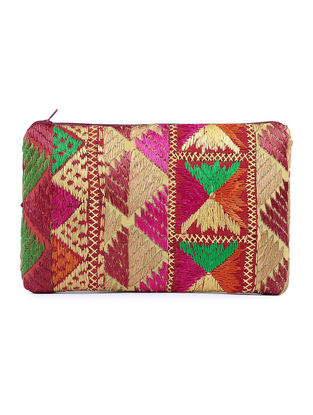 Multicolor Cotton Phulkari Pouch with Sequin- 6.5in x 10in
