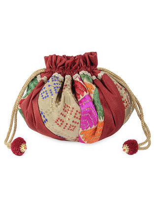 Maroon-Multicolor Silk Phulkari Potli with Lace and Tassels