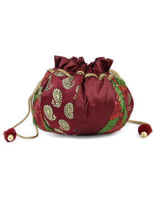 Maroon-Multicolored Silk Phulkari Potli with Lace and Tassels