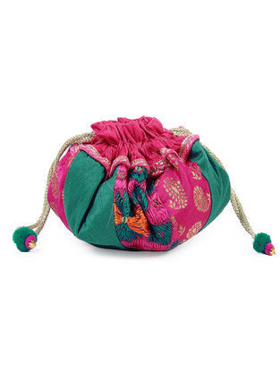Green-Pink Silk Phulkari Potli with Lace and Tassels
