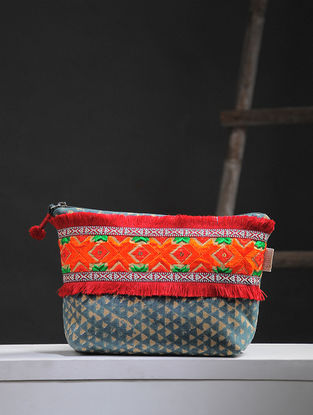 Green-Brown Phulkari Cotton Canvas Pouch with Embellishments