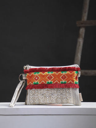 White-Brown Phulkari Cotton Canvas Pouch with Embellishments