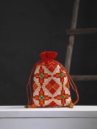 Red-Off white Phulkari Cotton BlendPotli