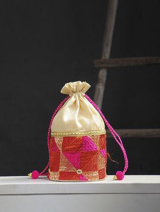 Off white-Multicolored Phulkari Silk Potli
