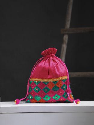Fuschia-Multicolored Phulkari Silk Potli
