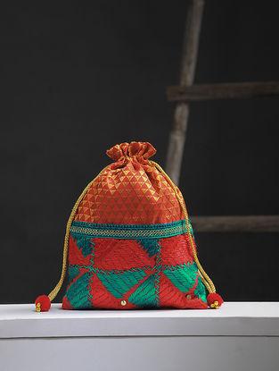 Red-Multicolored Phulkari Silk Potli