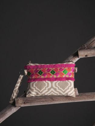 Brown-White Phulkari Cotton Canvas Pouch with Embellishments