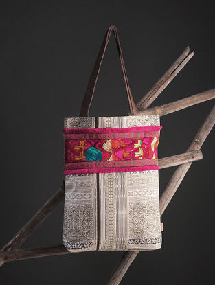 Brown-White Phulkari Cotton Canvas Tote