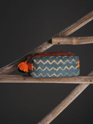 Green-Brown Cotton Canvas Travel Kit with Tassels