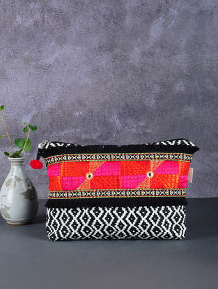 Black-White Phulkari Cotton Canvas Pouch with Embellishments