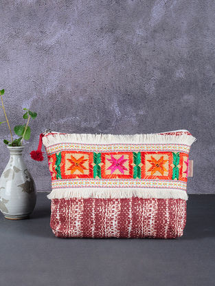 Maroon-White Phulkari Cotton Canvas Pouch with Embellishments