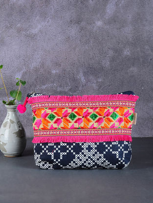 Blue-White Phulkari Cotton Canvas Pouch with Embellishments